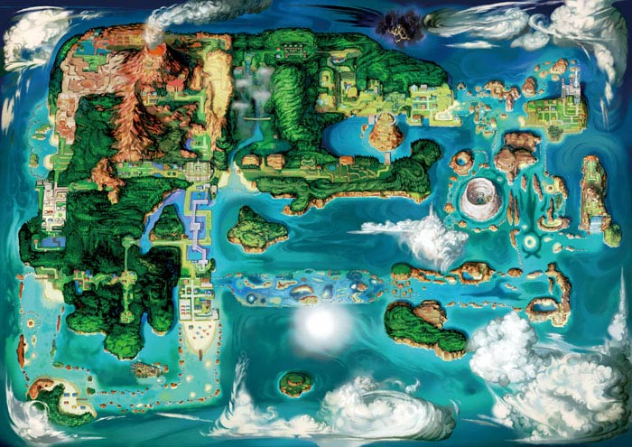 Pokemon Omega Rubin und Pokemon Alpha Saphir map of Hoenn-Region