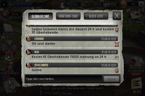 TWD Road to Survival Tipps im Global Chat mitlesen