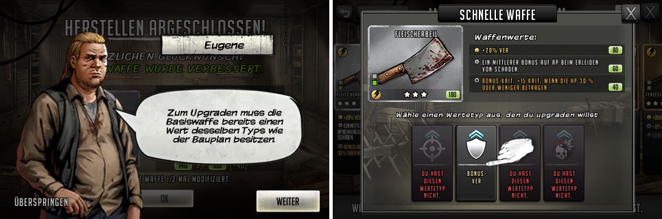 TWD Road to Survival Waffen Basiswert verbessern