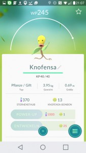 Knofensa PokemonGO Pokedex - alle Pokemon im Überblick
