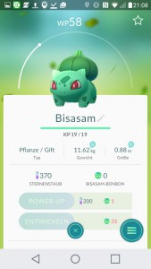 Bisasam PokemonGO Pokedex - alle Pokemon im Überblick