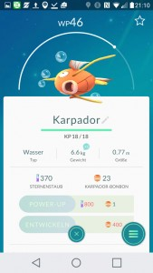 Karpador PokemonGO Pokedex - alle Pokemon im Überblick